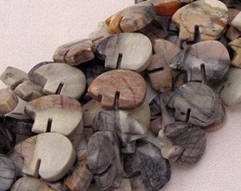 Six Picasso Marble Zuni Style Bear Fetish Beads White Black Gray Gray Tan Beige Sand Southwestern Totem Animal Courage Protection Woodland