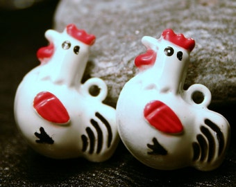 4 Metal Chicken Bell Charms Jingle Brass Painted Enamel While Red Rooster Hen Farm Animal Cock a Doodle Doo Kitchen Farm Decor Shabby Chic