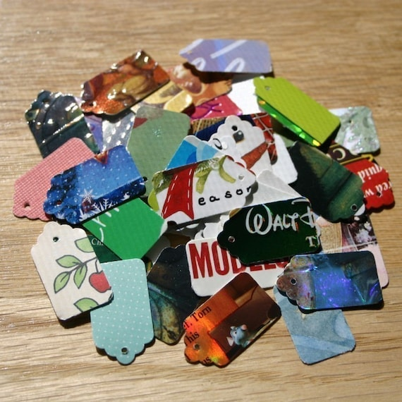 100 Recycled Hand Punched Mini Jewelry Gift Tags Choose Back Color Upcycled Consumer Product Packaging Cardboard Thick Stock Colorful White