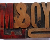 ME AND  YOU  VINTAGE LETTERPRESS, WOODEN LETTERS, A BLOCK COLLAGE