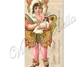 Pink Girl Paper Doll Butterfly Business Cards By VINTAGE BELLA Professionally Printed