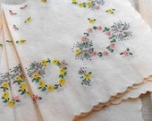 Vintage Cocktail Paper Napkins circa 1950s 9 inch square Pink Yellow Flower