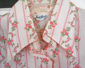 PRICE DROP Vintage 1960s Floral Print Rose Blouse from Opera Singer's Closet - Size Large