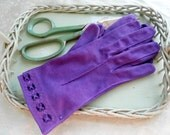 Vintage 1950s Double Woven Cotton Hand Dyed Purple Violet Gloves Size 7 Kayser new old stock