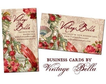 Red Marie Antoinette Business Cards By VINTAGE BELLA Professionally Printed
