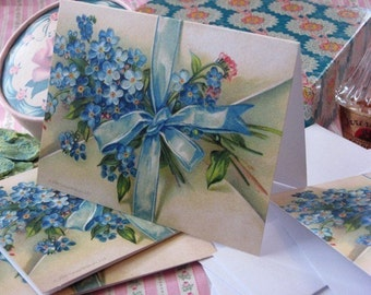 4 Reproduction c1905 FORGET-ME-NOT Blank Cards Wedding or Birthday