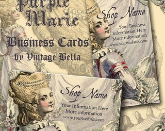 Purple Marie Antoinette Business Cards By VINTAGE BELLA Professionally Printed
