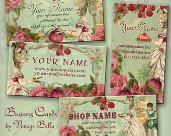 Marie Antoinette framboise et grenade Business Cards By VINTAGE BELLA Professionally Printed raspberry and pomegranate