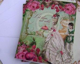 4 Let Them Eat Cake framboise et grenade Marie Antoinette Note Cards by Vintage Bella - raspberry and pomegranate