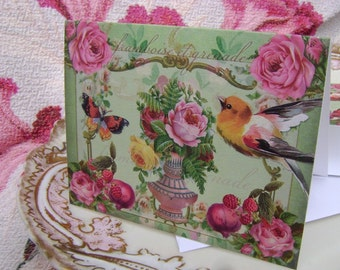 4  framboise et grenade and bird Note Cards by Vintage Bella - raspberry and pomegranate