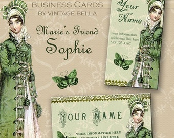Green MARIE'S FRIEND SOPHIE Regency Era Business Cards By Vintage Bella Professionally Printed