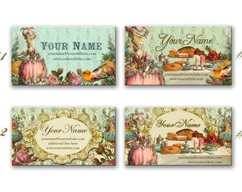 Marie Antoinette Patisserie Business Cards By VINTAGE BELLA Professionally Printed