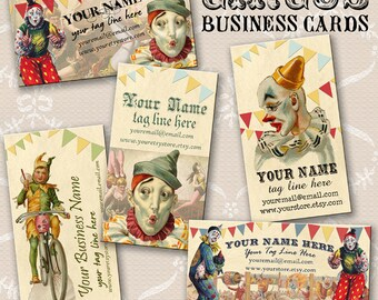 Circus Clown Business Cards By VINTAGE BELLA Professionally Printed
