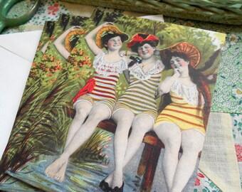 4 Edwardian Bathing Beauties Blank Note Cards by Vintage Bella