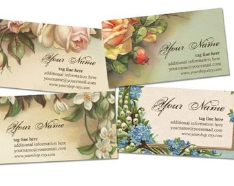Victorian Flowers Business Cards By VINTAGE BELLA Professionally Printed