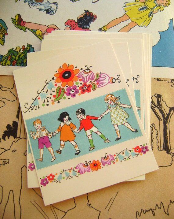 8 Vintage 1920s Art Deco Children Postcards by Vintage Bella  vertical style