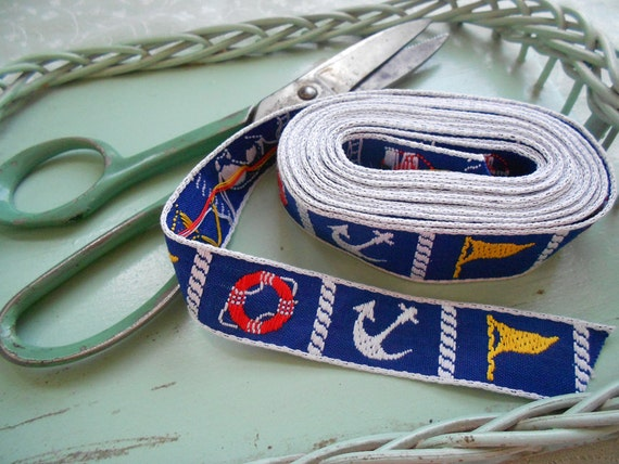 Vintage Sailor Theme Ribbon Trim circa 1960s 3.75 yards - pennant, anchor, life preserver