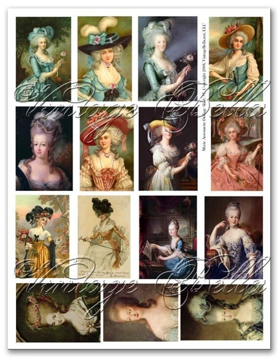 Vintage MARIE ANTOINETTE no7 Collage Sheet - 2 Adhesive Backed Pages LASER PRINTED or on cardstock Collage Sheets by Vintage Bella