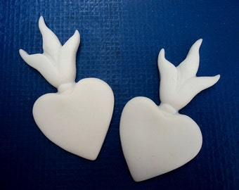 Blank Resin flamining heart cab set