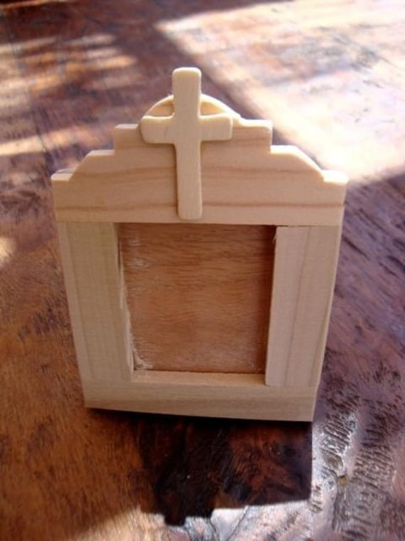 standing UNFINISHED WOOD framed TABLET with mission arch and cross