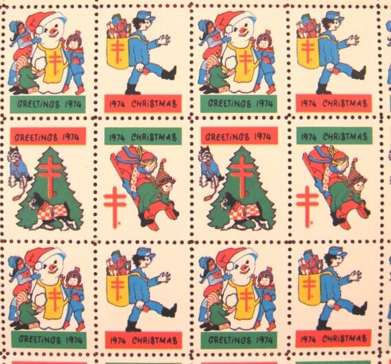 Vintage Christmas Seals 1974 Sheet of 100 Unused Children Playing-Snowman-Dogs