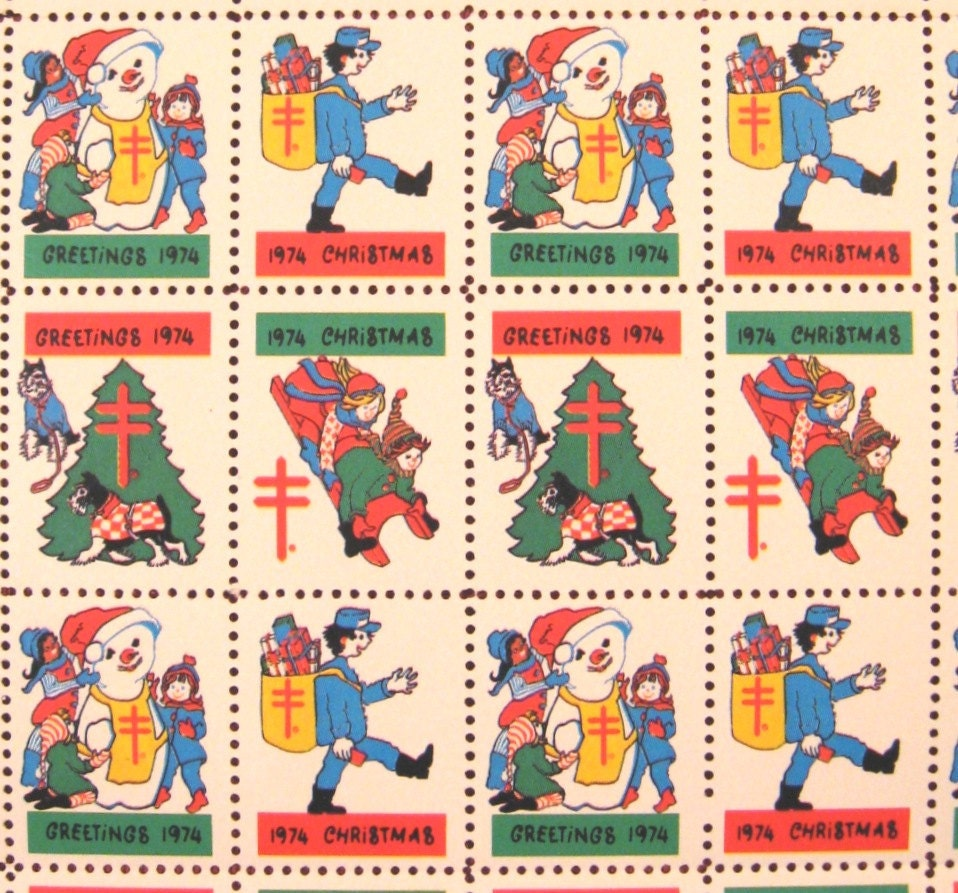 Vintage christmas seals sheet of unused children