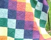 Rainbow patchwork quilt - large cotton picnic blanket