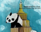 Empire Panda. Panda Art. Panda climbing the Empire State Building in NYC.  Awesome children's illustration, kids art print, poster.