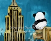 Hero Panda. Panda Art. Panda Illustration. New York City. Panda Sitting on the Chrylser Looking at The Empire State Building.