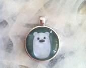 Silver Pendant. Snow Ball. Baby Polar Bear. Art Jewelry. Real Glass. 1 Inch Circle. Cute Polar Bear. Sterling Silver Jewelry