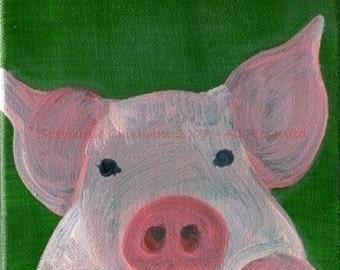 Sister Piggy - Cute Pink PiGGY - Matted Archival Art Print