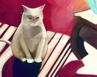 White Cat Illustration. Art.  Awesome Cat Art. Maroon. Print - Red Twilight