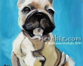 French Love. Beige French Bull Dog. French Bull Dog Illustration. Art Print. Poster. Cute Dog Art.