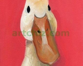 Willie. Amazing White Duck Art. Art Print. CUTE WHITE DUCK. AWeSOME Duck Art. Bird Art. Kids Art. Amazing Baby Shower Gift