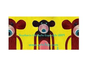 Brown Sock Monkey Art -  3 Sock Monekys - Scream Brownie Scream - Yellow, Brown, Nursery Art, Monkey Art