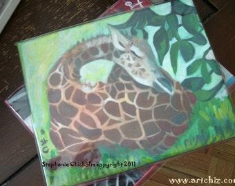 Noon Nap - Baby Giraffe - Handmade CHizZY PaintinG -  8 X 10 Canvas
