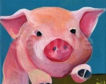 Piggy Fence. PiG Art. Art Print. Cute Pink PiG. Awesome Pink Pig Art. Amazing Baby Shower Gift. Children's illustration. Kids art. Poster
