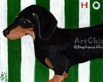 HotDoG - BLack. Dachshund Dog Art. Awesome Weiner DoG Art Print. Art Print. Cute DoG Art. Dog Art Poster