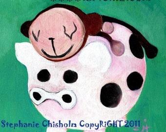 PiG Cow Monkey Art. PiGGY Back. Kids Art Print. Green. Sock Monkey. Brown.  CUTE Pig Art. Piggy Bank. Cow Spots. Nursery Decor. Poster.