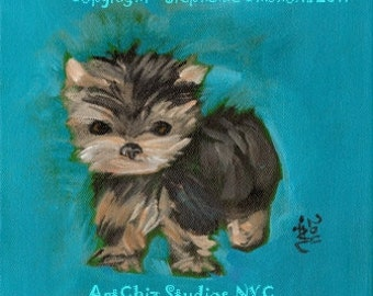 DIVA - Yorkshire Terrier Dog Portrait from the I am a Little Tea Cup Series - Matted - SIGNED