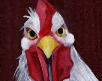 Year of the Rooster. White Rooster Art - RU Lookin at ME - Angry White Rooster - Lunar New Year 2017 - Chinese New Year  - Dark Maroon