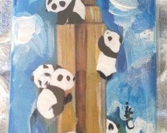 Panda Art Painting -  4 X 6 Inch  Original Painting on Canvas - Empire Panda  -Panda's Climbing the Empire State Building