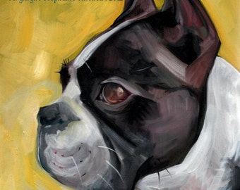 Boston Terrier -  DoG Art Print - THE KING of BOSTON - DoG Portrait  - Terrier
