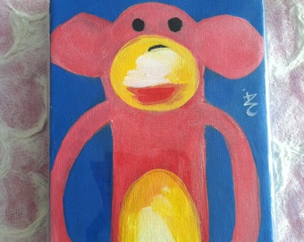 Pink Sock Monkey Art - Original Art - Painting on Canvas on All Sides - Pinkie - 5 by 7 Inch by 1.5 Inch Profile - A Perfect Nursery Gift