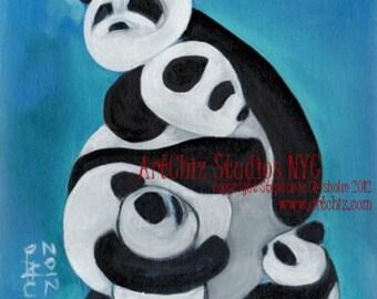 Panda Bears Hugging Illustration. Panda Family. Art Print. Nursery Art. Signed by the Artitst. - Panda HuG