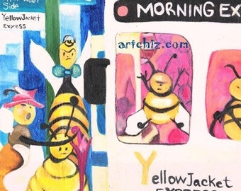 Yellow Jacket Illustration. Alphabet. NYC. Georgia Tech. Division 1. NCAA. Mascot. Yellow Jackets Squeezing onto a Bus. Y for Yellow Jacket.
