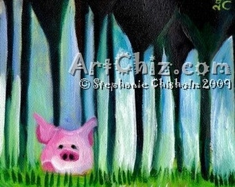 PiG Art - Pink Pig in Central Park NYC - LiTTLe PiG BiG CiTY - Pink PiG in the City -  Pig Art Print