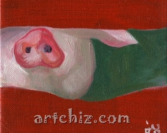 Nosey - Cute Pink PiG Nose Sticking Thru a Hole in the Fence - Pink. Forest Green. Olive Green. Whimiscal. Kids Art Illustration. Poster