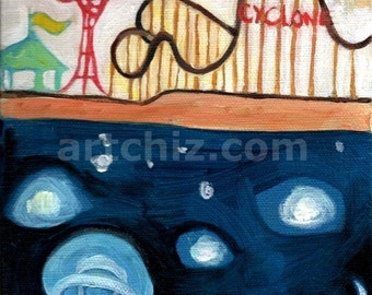 """Matted Art Print of Jelly Fish at Coney Island's Cyclone- NYC, """"J for Jellyfish"""",  - Animal Alphabet Art - Sea Life"""