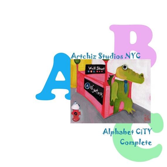 "Alphabet Animals Art Prints  -  A Complete Set of Matted  5 x7"" Art Prints  - All 26 Letters from - Alphabet City Nursery Art"